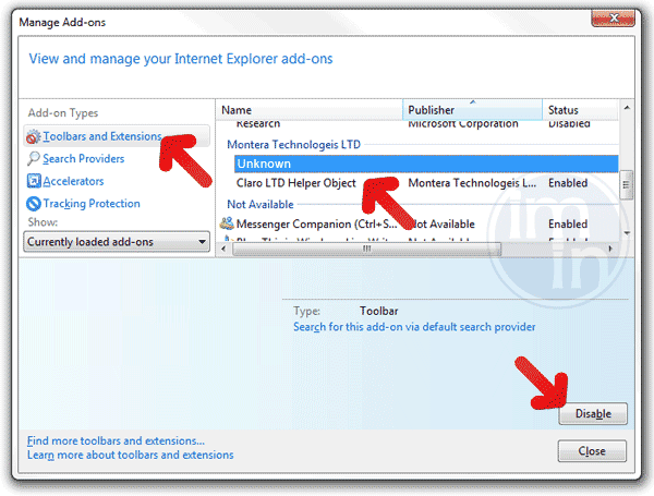 Remove Add-ons on IE