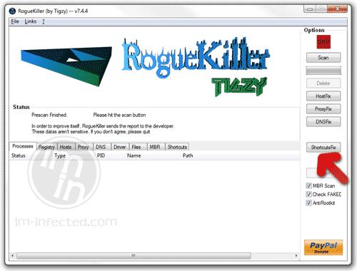 RogueKiller Shortcut Fix Button
