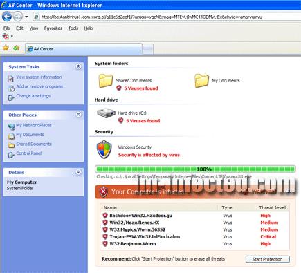 Fake online virus scanner