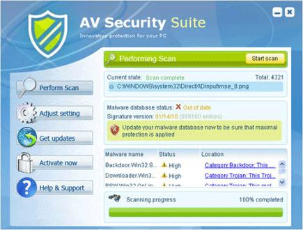AV Security Suite Screen Shot Image