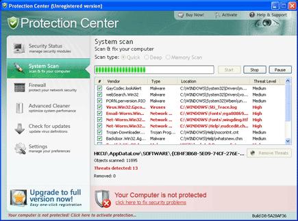 Protection Center Screen Shot