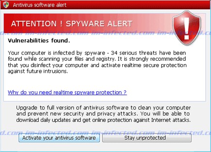 Attention! Spyware Alert Screenshot Image