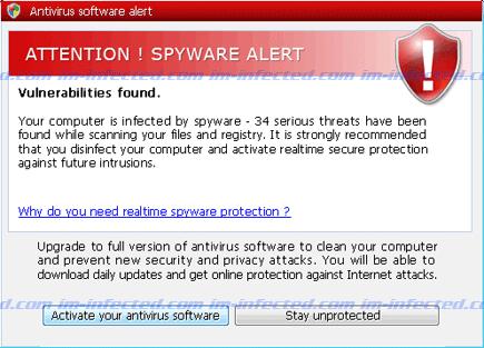 Attention! Spyware Alert Screenshot Image