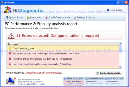 Screen Shot Image of Hard Drive Diagnostic