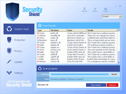 Screen Shot Image of Security Shield
