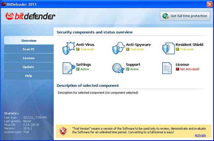 Screen shot image of BitDefender 2011