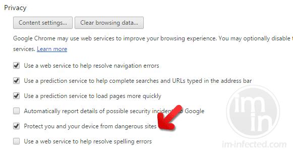 Chrome Dangerous Sites Protection