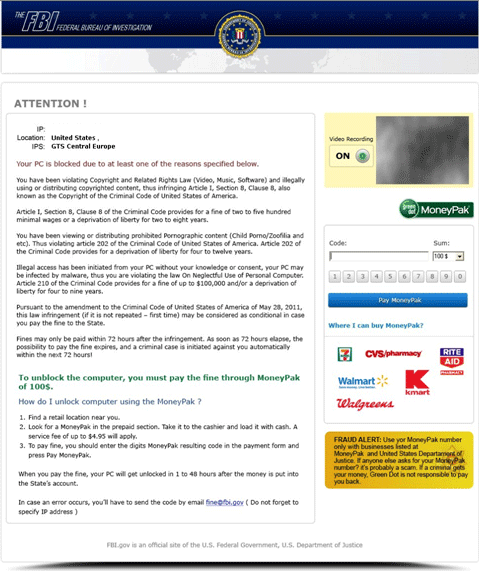 Screenshot of FBI Winlocker Trojan