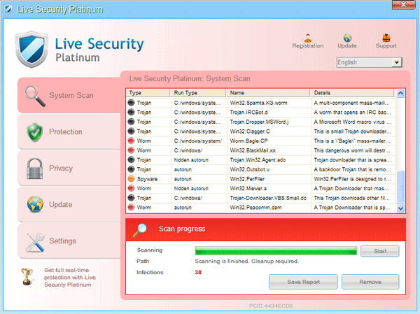Fake virus scanner interface