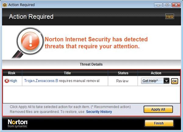 Trojan.Zeroaccess.B Detection by Symantec