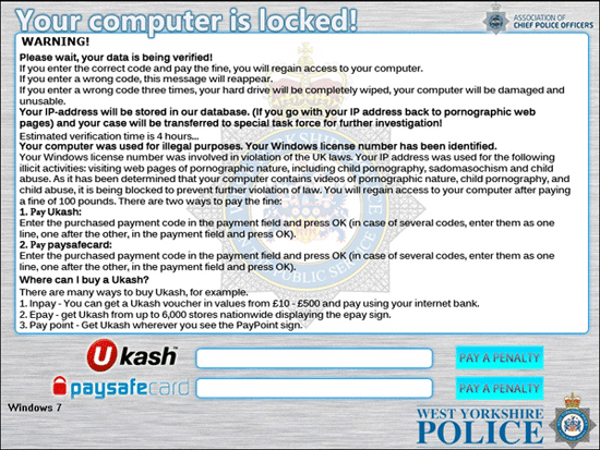 West Yorkshire Police - Ukash virus