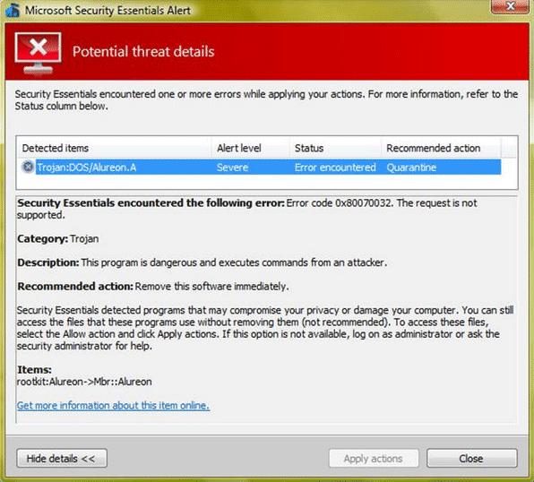 Trojan:DOS/Alureon.A Detected by MSE