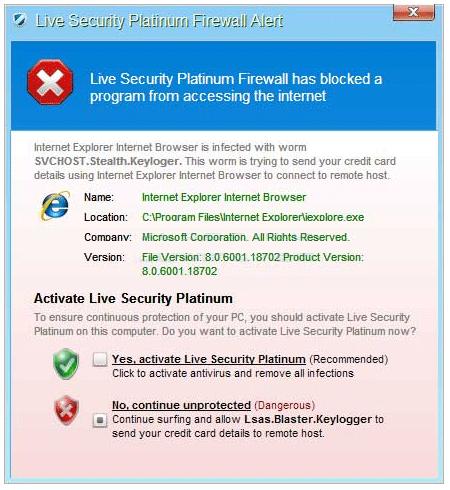 Live Security Platinum Firewall Alert Popup