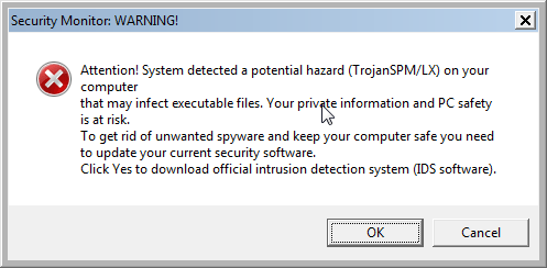 Security Monitor Warning popup