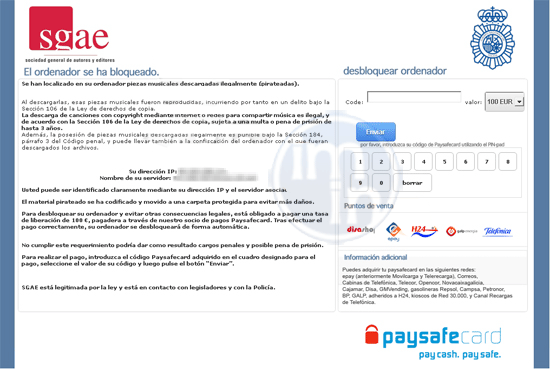 SGAE Paysafe Virus
