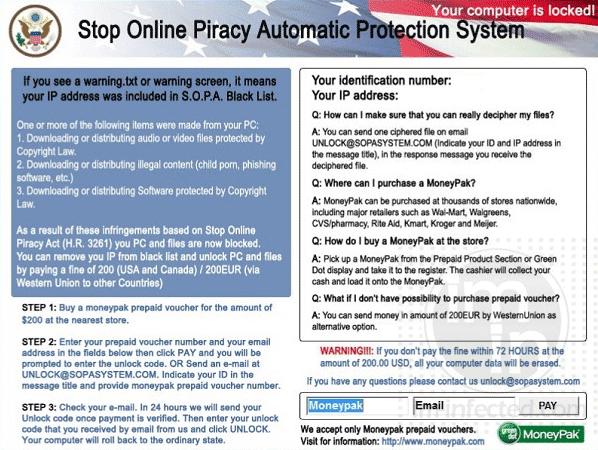 Stop Online Piracy Virus