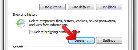 IE delete browsing history