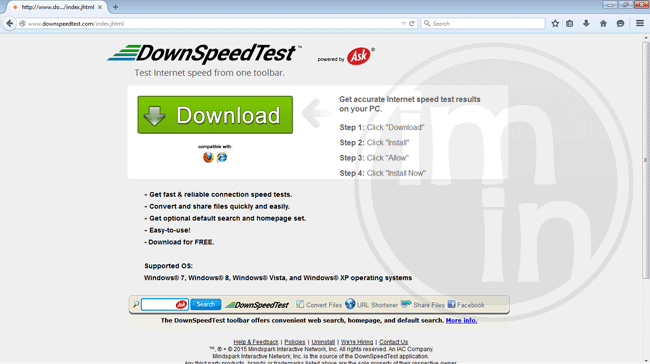 DownSpeedTest Toolbar