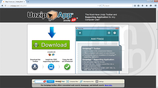 UnzipApp Toolbar