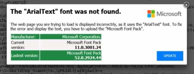 The ArialText font was not found