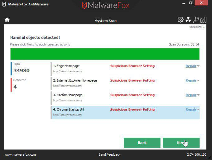 MalwareFox scan results