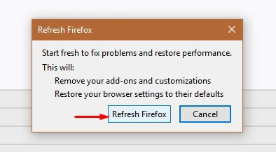 Confirm Reset Firefox