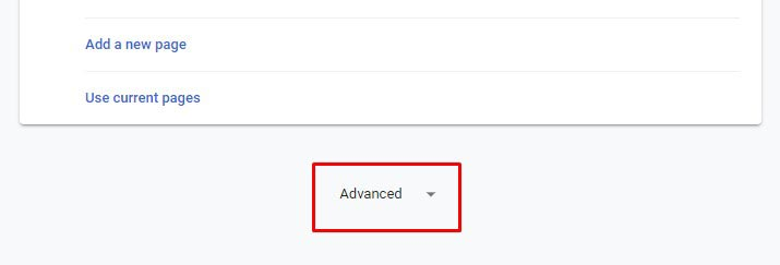 Click on the Advanced button - Google Chrome Help