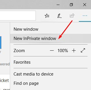 Activate Edge InPrivate Window 1