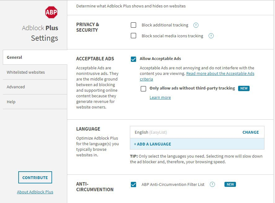 Adblock Plus Options Page