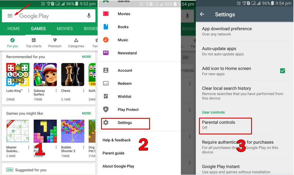 Set Parental Control on Play Store 1