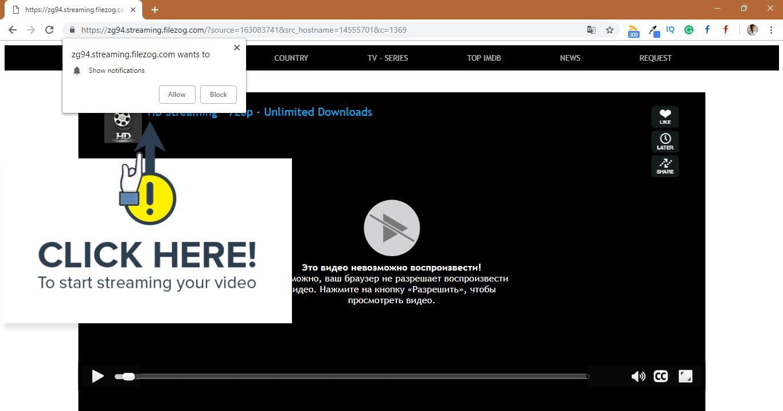 How to remove Streaming.filezog.com Pop-up