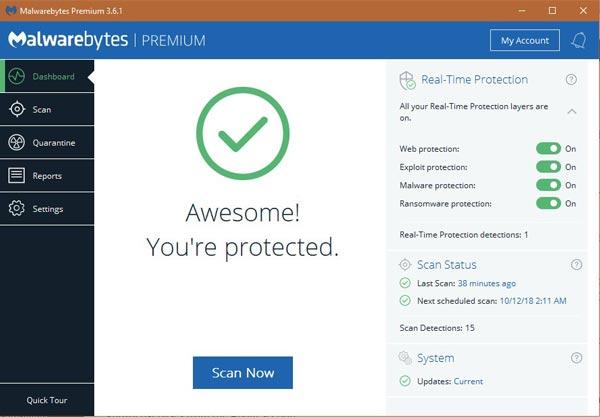 Malwarebytes Premium - Best Antimalware 2019
