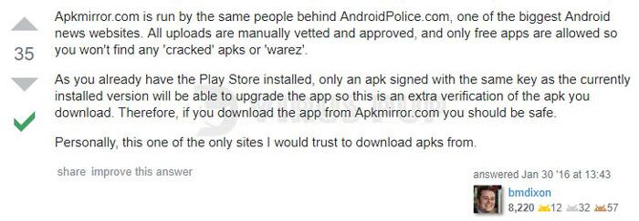 APKMirror User Review 2