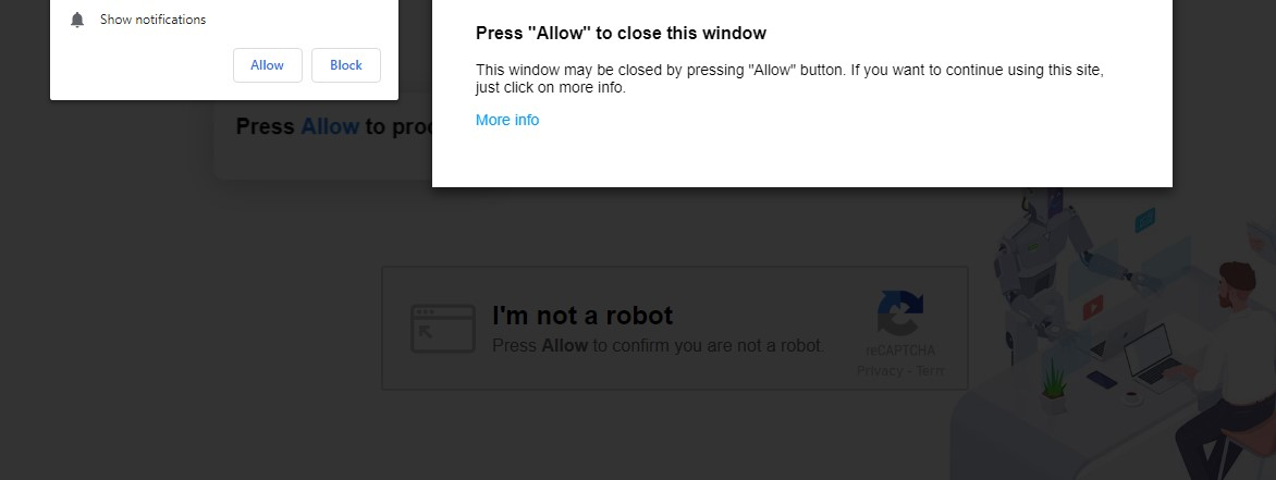 Press Allow to Close this Windows Scam