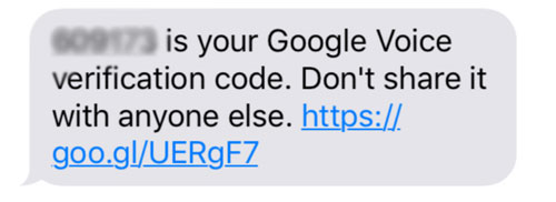 Google Voice Verification Code Message