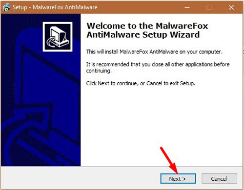 MalwareFox Installation Wizard - Click Next