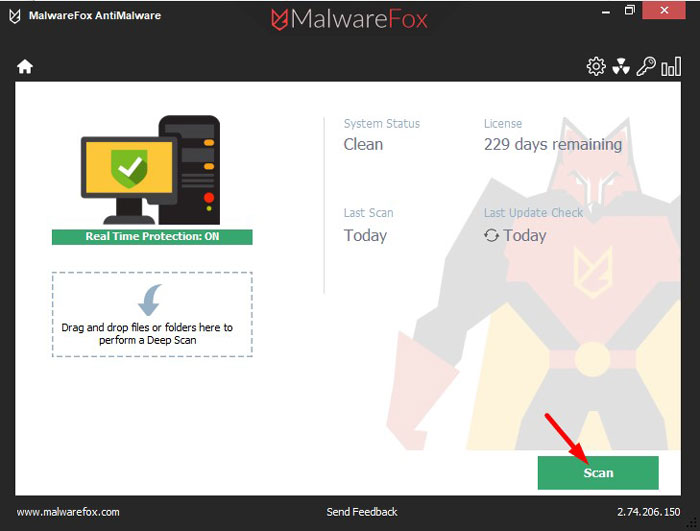Start a scan with MalwareFox