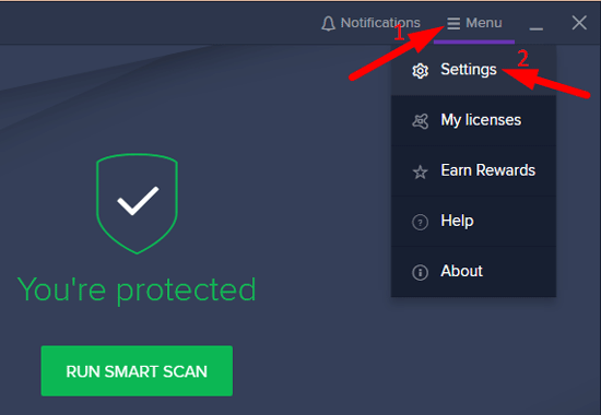 Open Avast Setting 2