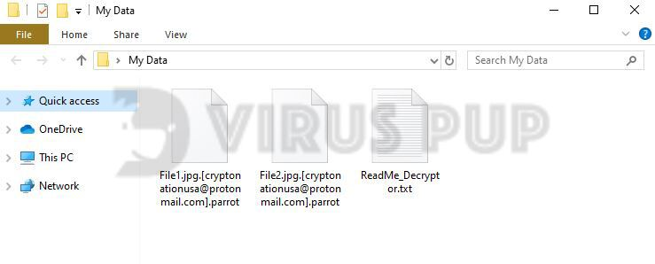 Parrot Ransomware Infected Files