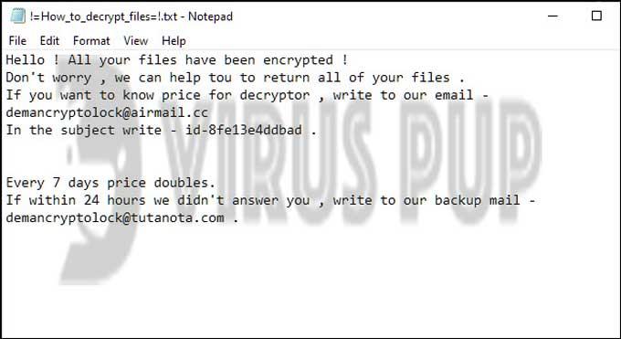 Deman ransom note