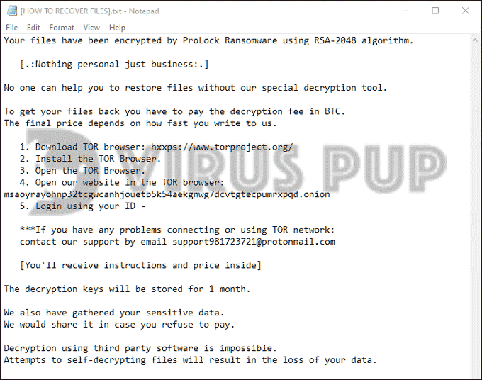ProLock Ransom Note