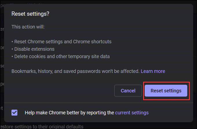reset chrome settings